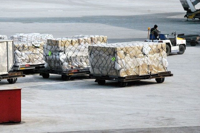 Cargo being loaded into an airplane