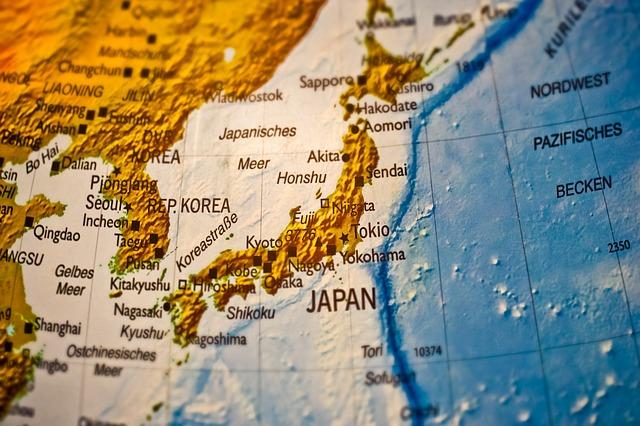 A globe showing Japan